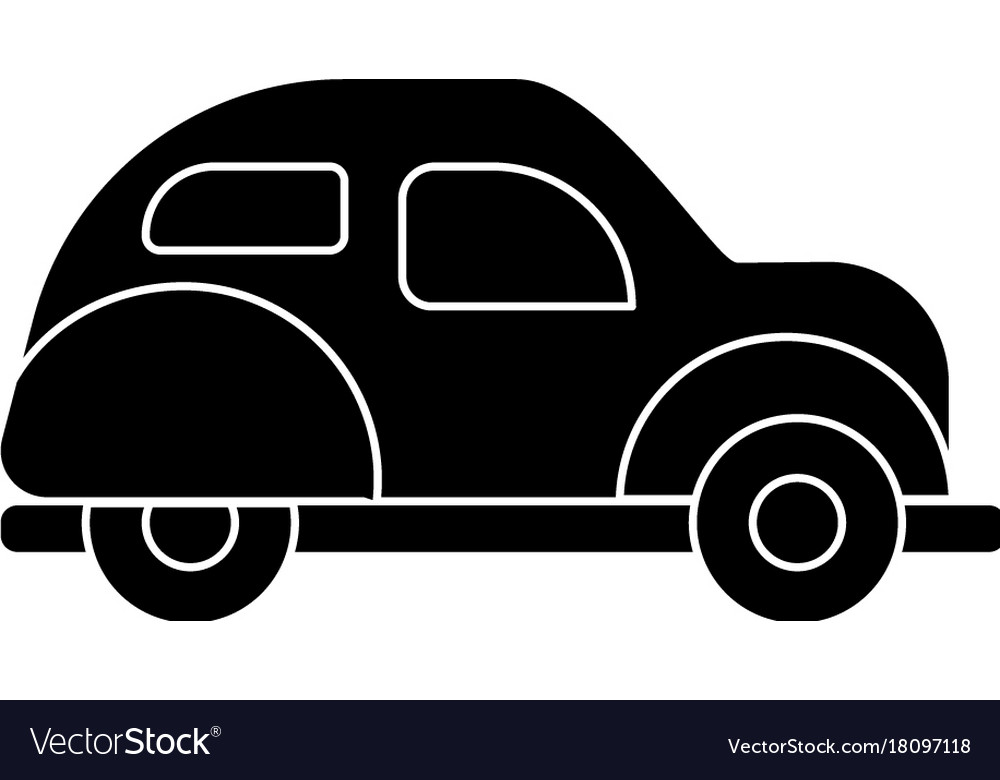 Car retro icon black sign on