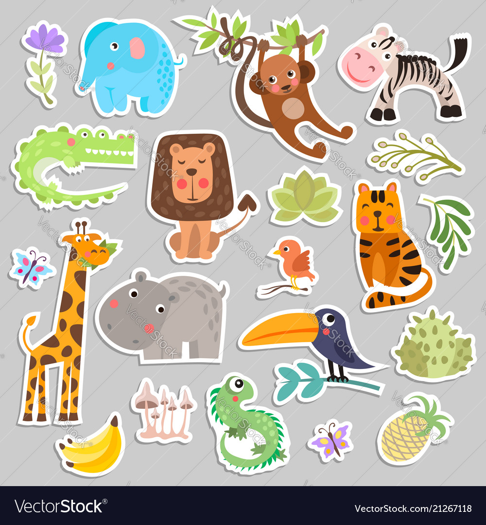 Cute set of stickers of safari animals and flowers