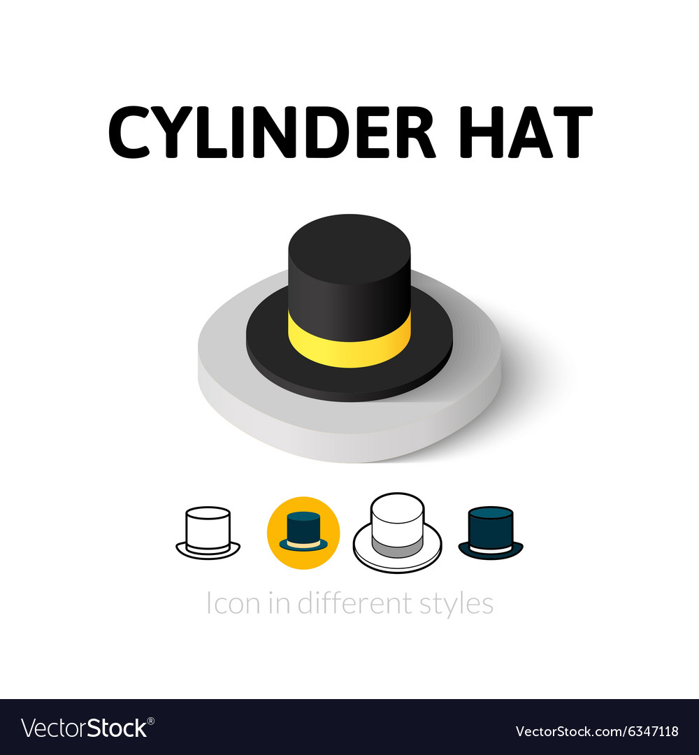 Cylinder hat icon in different style
