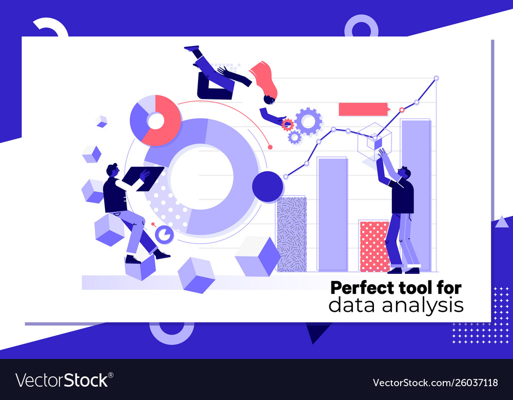 Data analysis concept landing page templateflat vector
