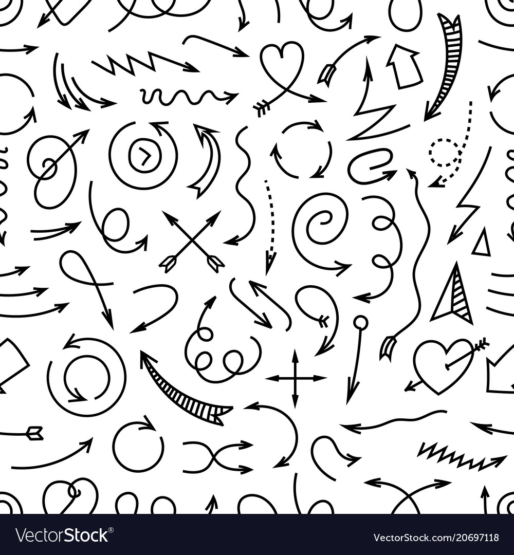 Different simple arrows seamless pattern vector image
