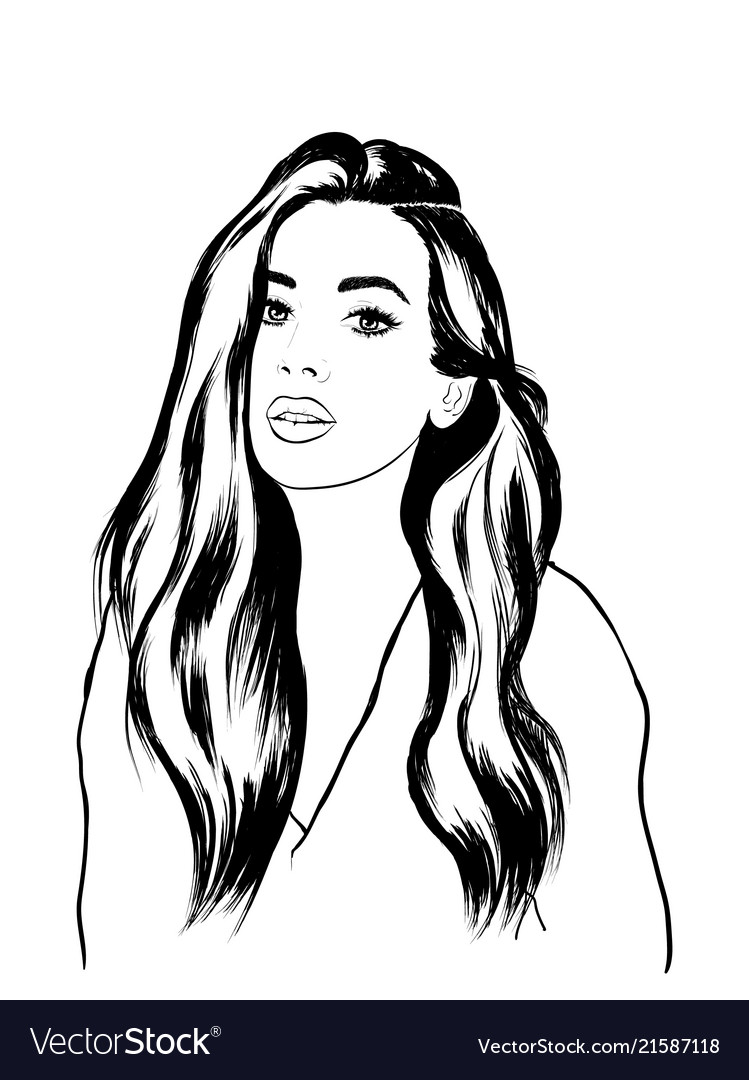 Fashion woman face sketch vector image