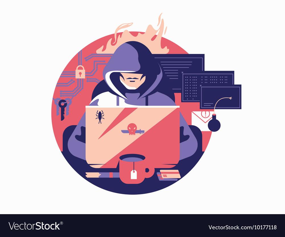 Hacker in shadowing