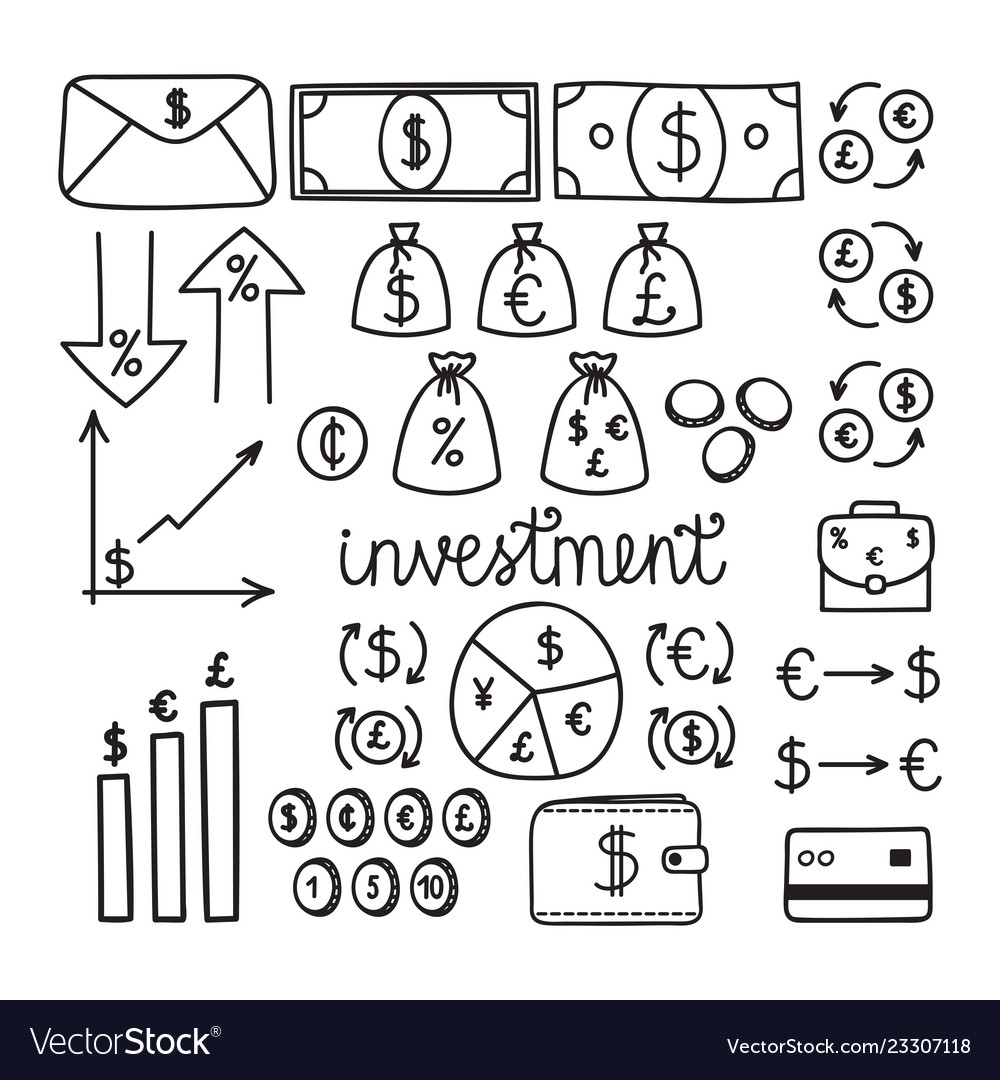 Hand drawn financial investment icons money and