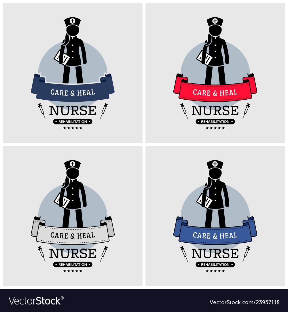 Nurse logo design artwork of nurse emblem badge