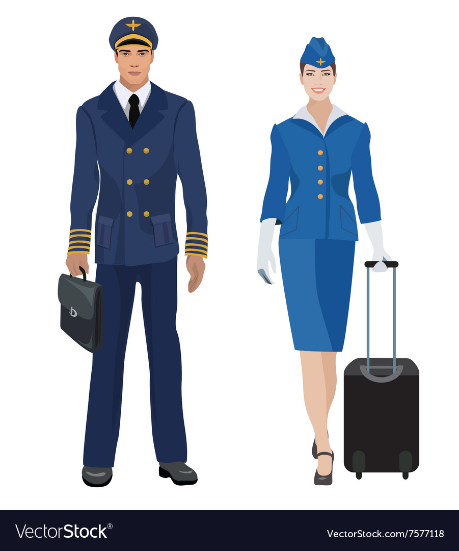 Pilot and stewardess in uniform isolated