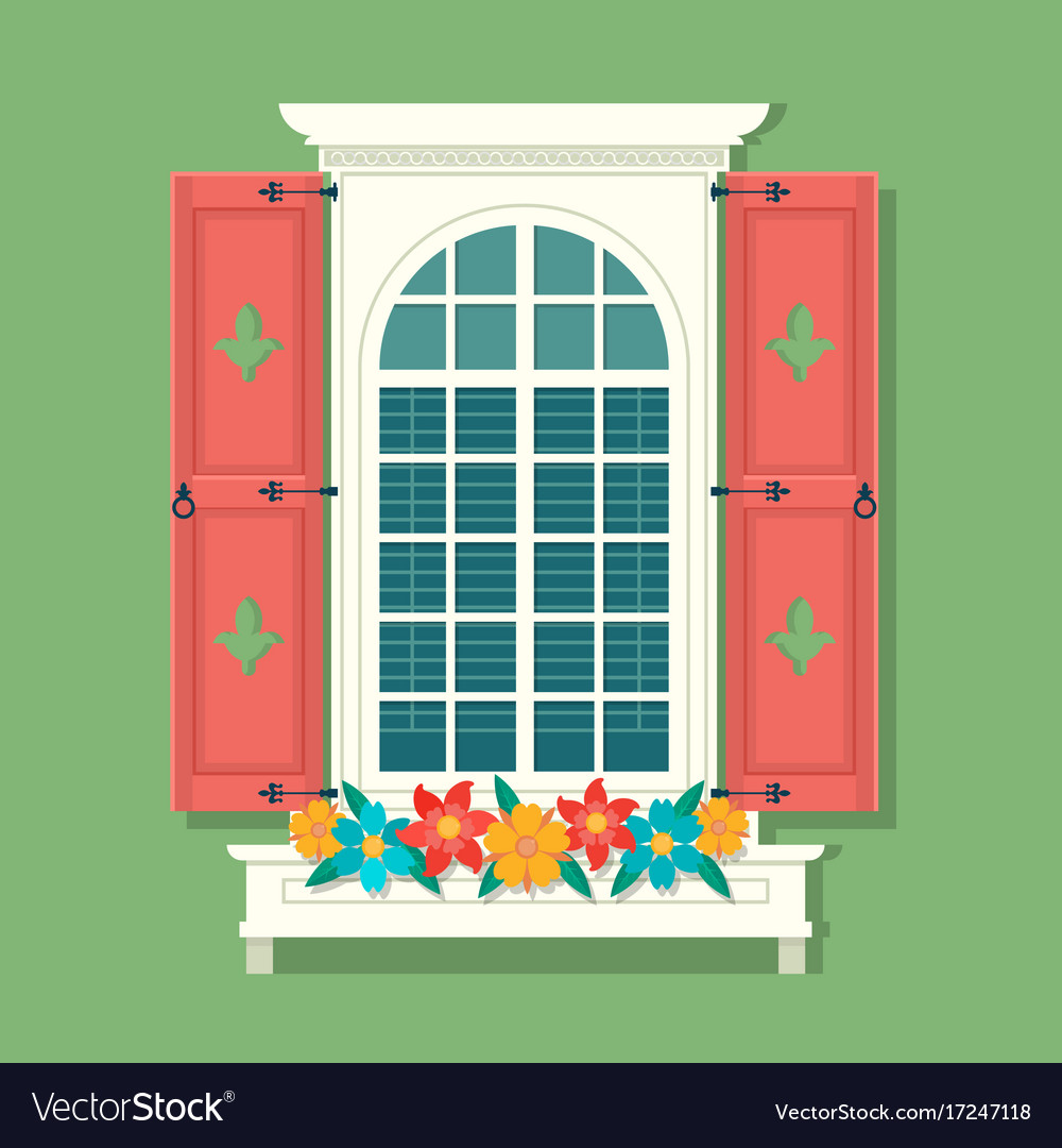 Retro Window With Red Wooden Shutters And Curtains