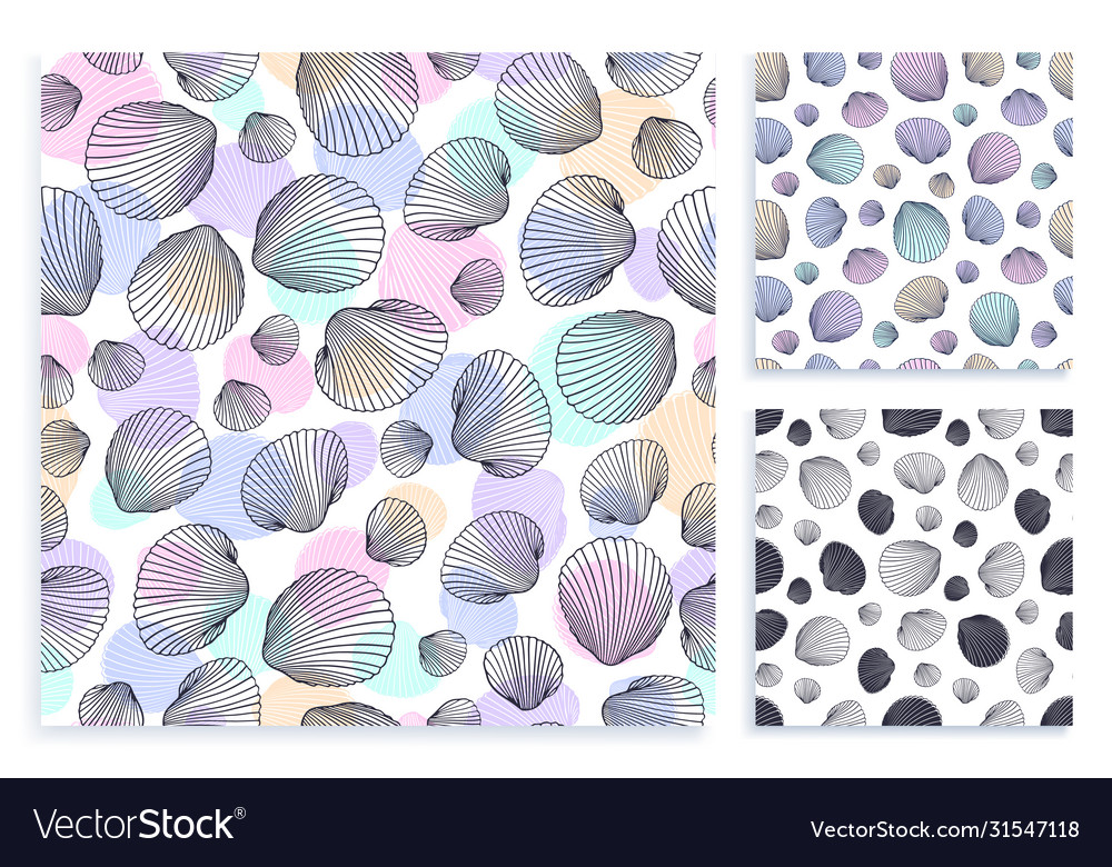 Seamless set pattern hand drawn seashells in