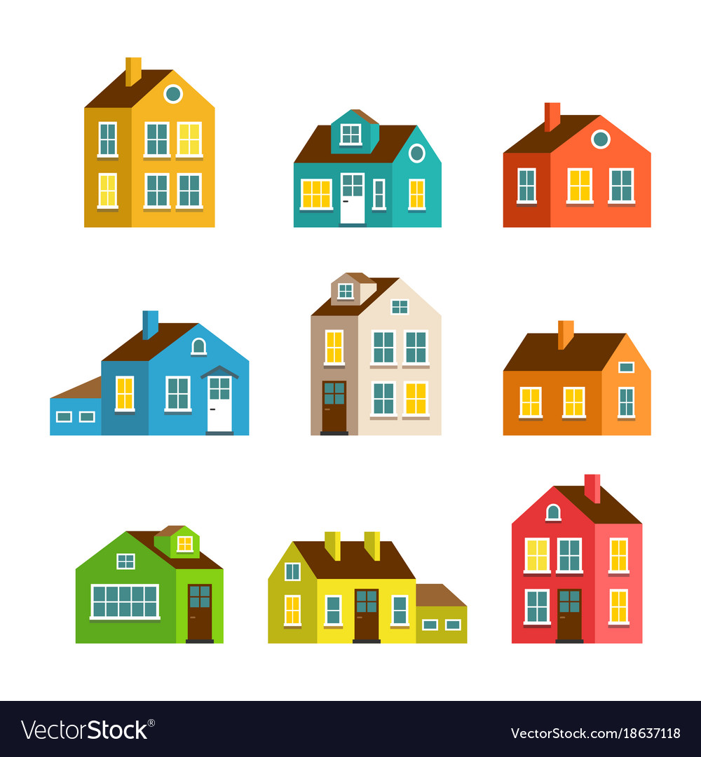 cartoon pictures of houses  Small and big cartoon houses isolated set Vector Image