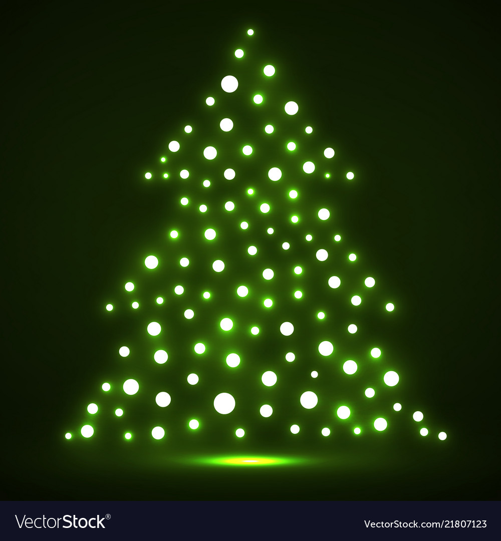 Abstract christmas tree from glowing dots