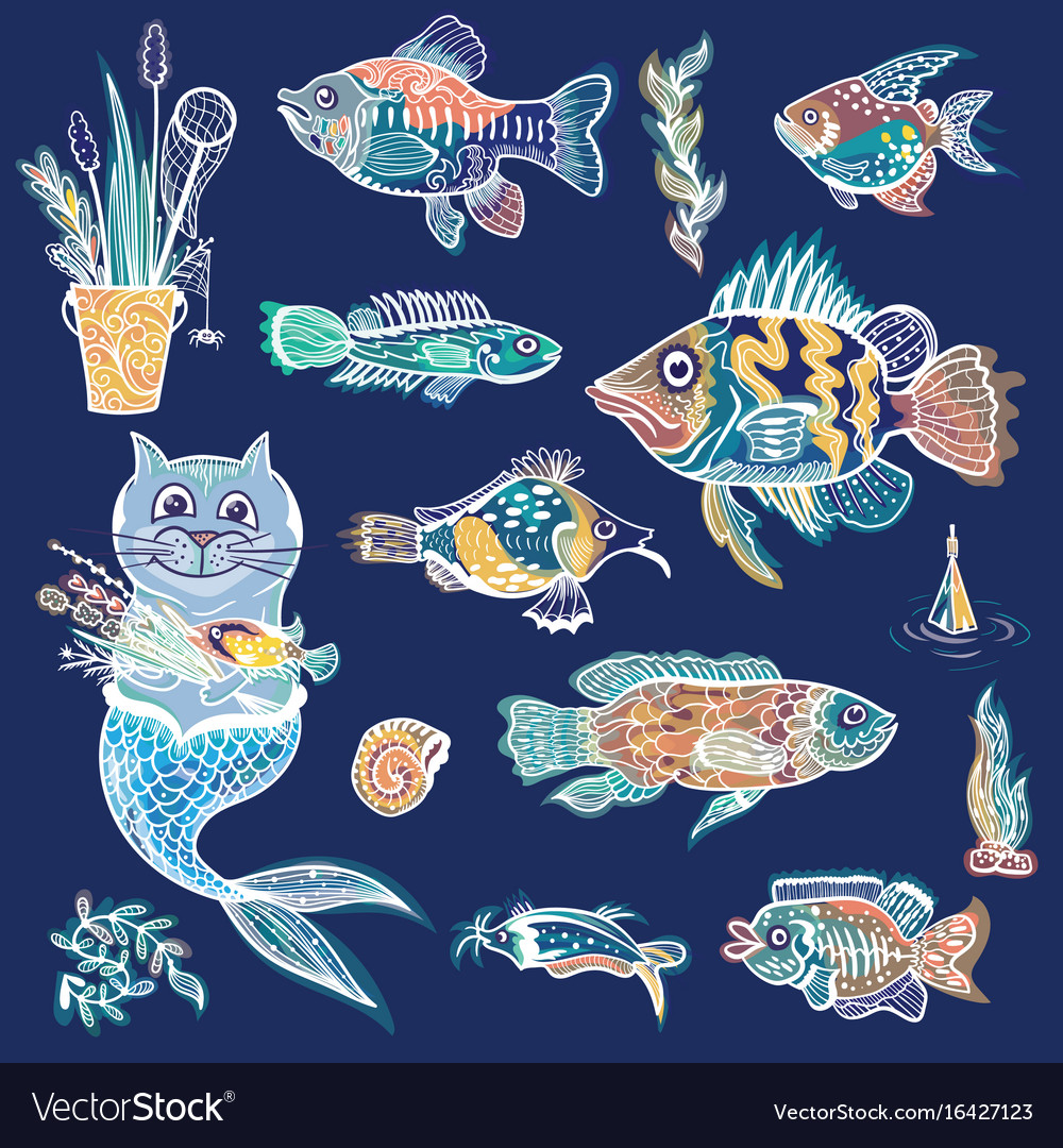 Creative sea life set vector image