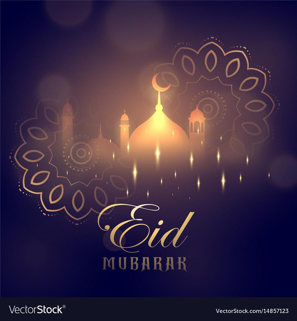 eid mubarak greeting card design with glowing vector image