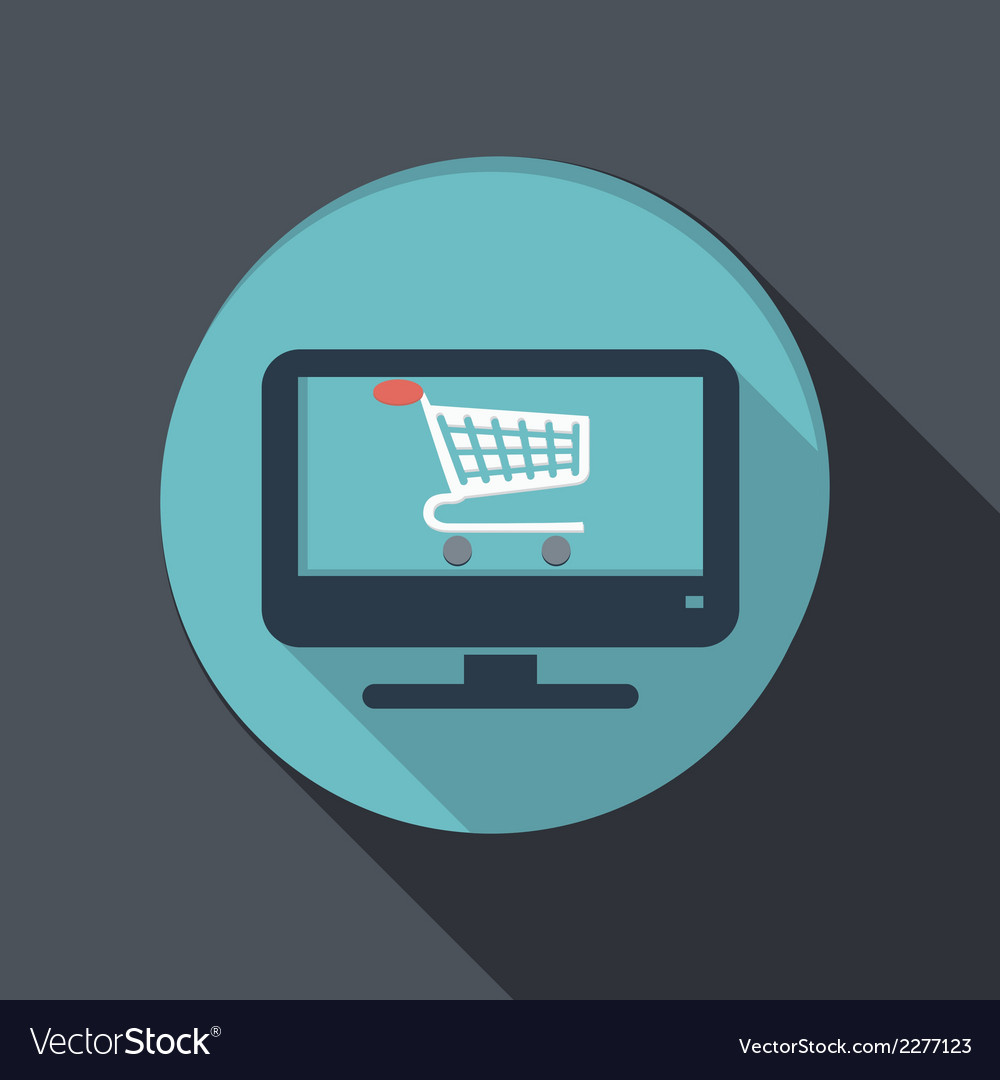 Flat icon monitor with symbol shopping cart