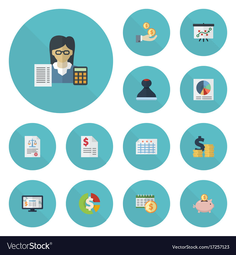 Flat Icons Tactics Pie Bar Accounting System And Vector Image