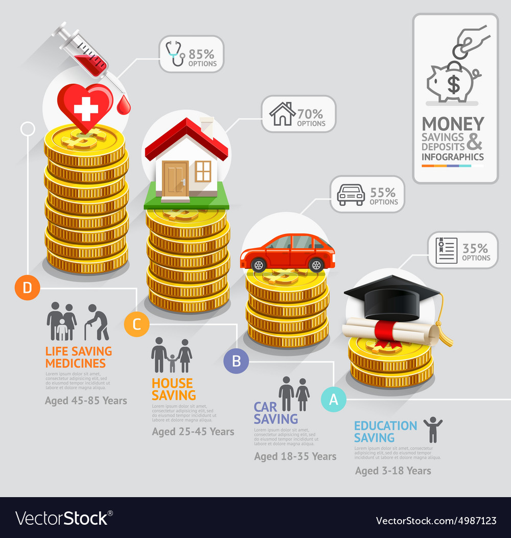 Gold coins money stack infographics template