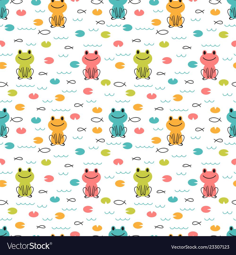 Hand drawn seamless pattern with cute cartoon