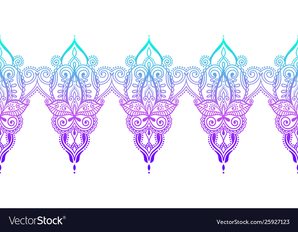 Indian seamless paisley pattern henna mehndi