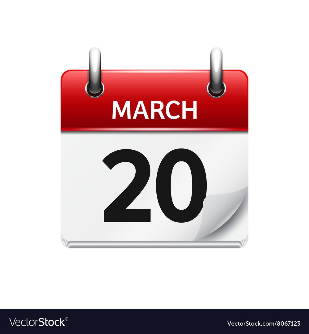 Calendar Date.March 20 Flat Daily Calendar Icon Date