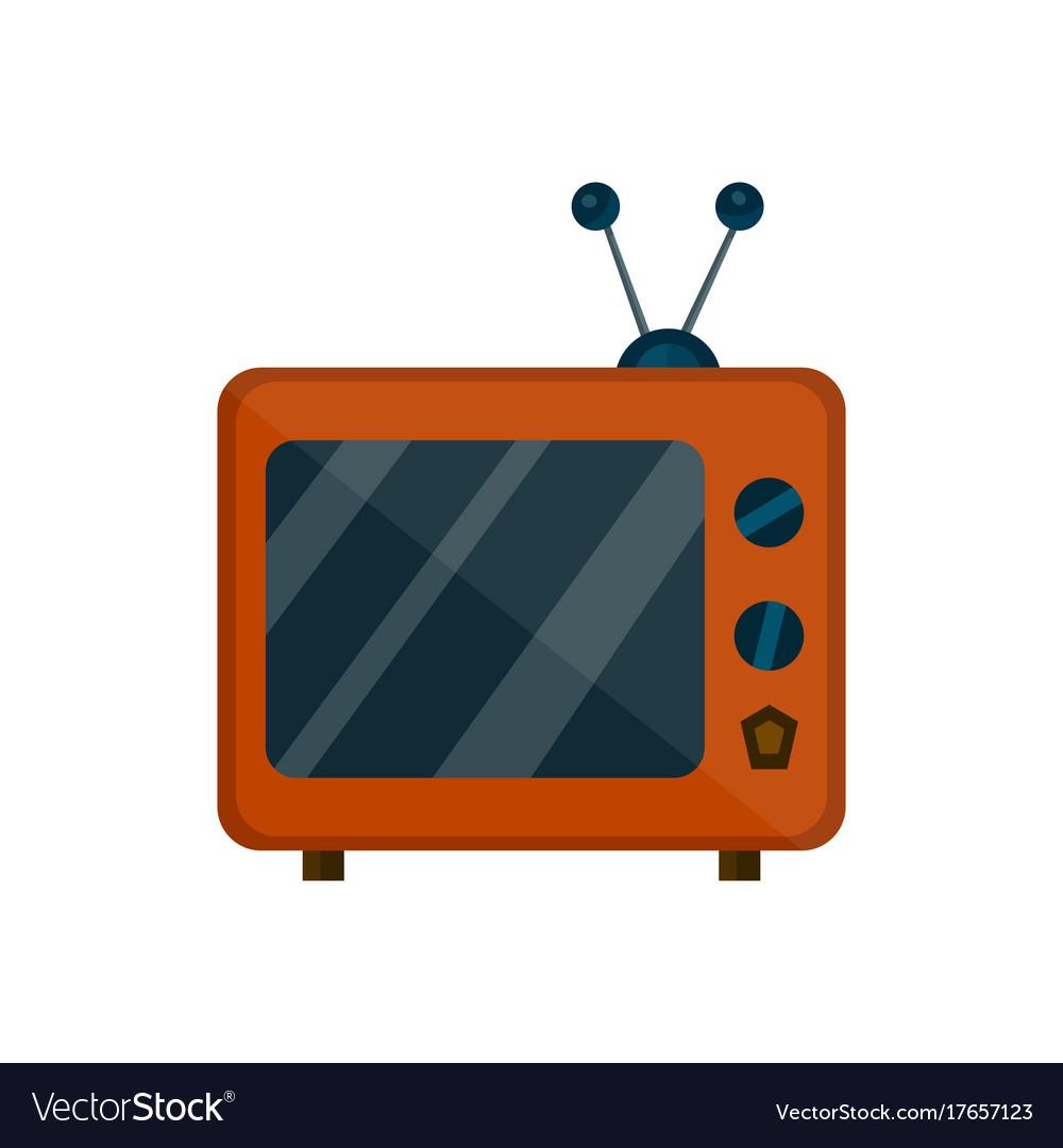 Old retro vintage tv flat cartoon