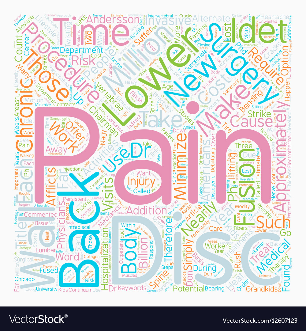 Pain In The Back text background wordcloud concept vector image