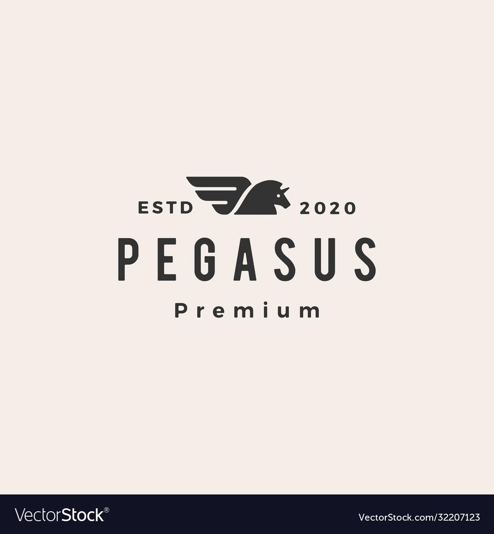 Pegasus unicorn horse hipster vintage logo icon