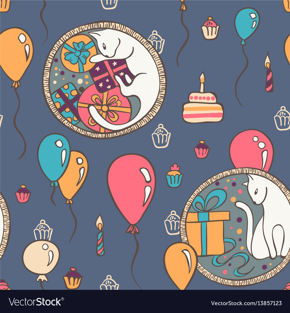 Seamless pattern with cats and birthday