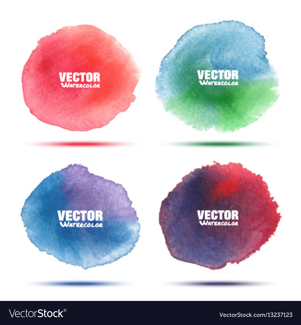 Set of bright colorful watercolor circle stains