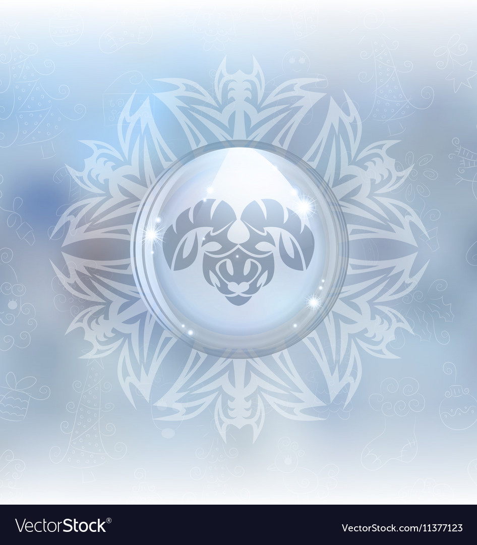 Snow globe with zodiac sign Aries vector image