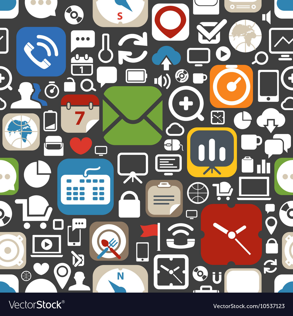 Web graphic interface icons seamless background
