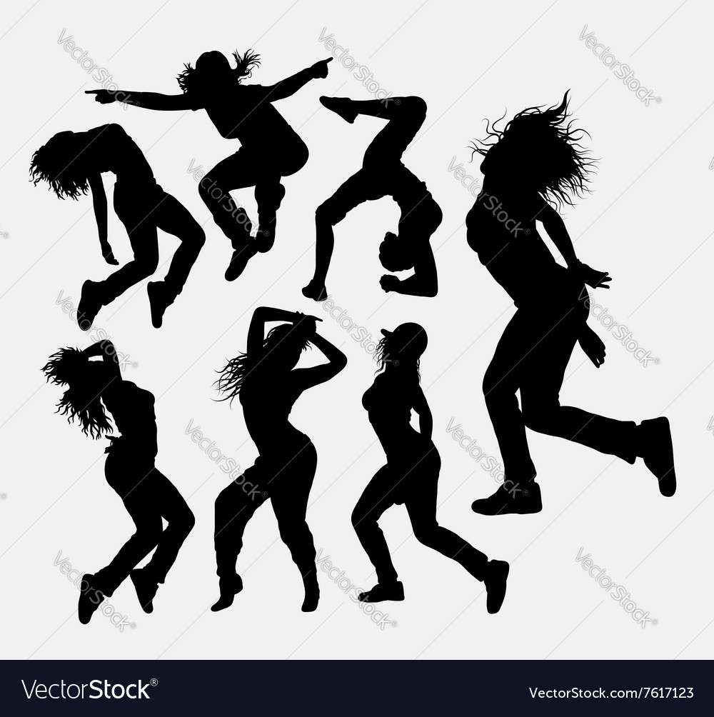 Woman dancing freestyle silhouette vector image