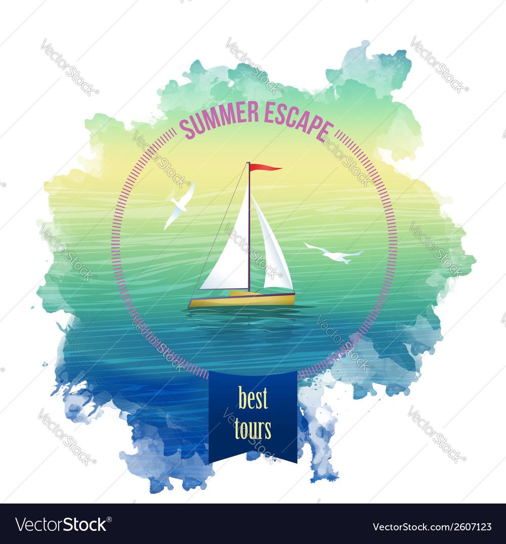 44ba4639b Yacht Sea Landscape Watercolor Royalty Free Vector Image