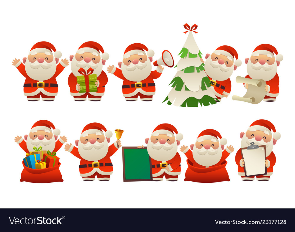 Collection of happy cute christmas santa claus