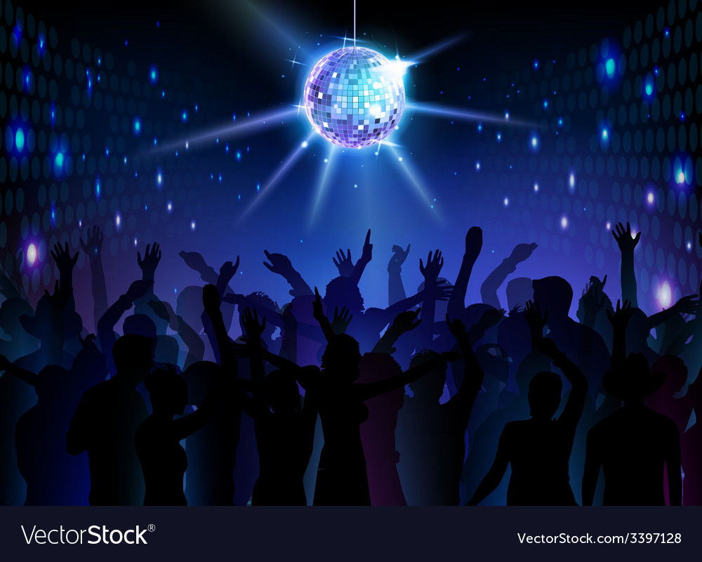 Disco ball background Dancing people vector image