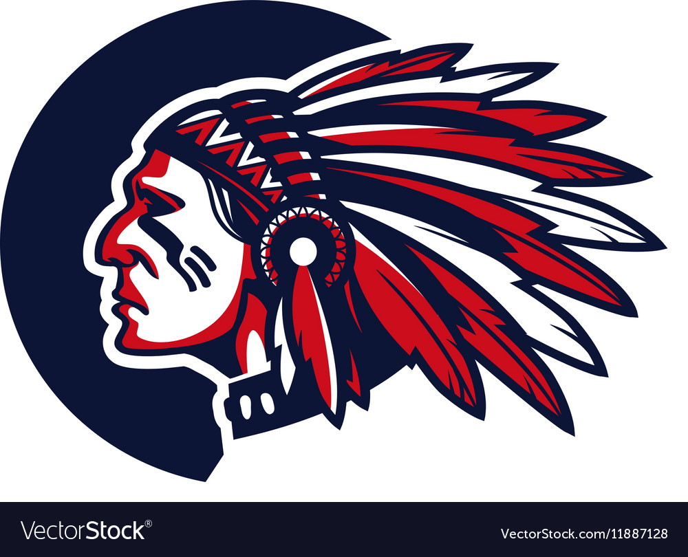 face of indian chief royalty free vector image rh vectorstock com Indian Mascots and Logos Indian Chief Motorcycle Logo