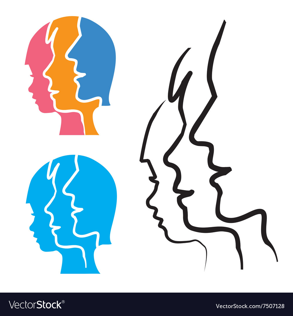 Family stylized head silhouettes