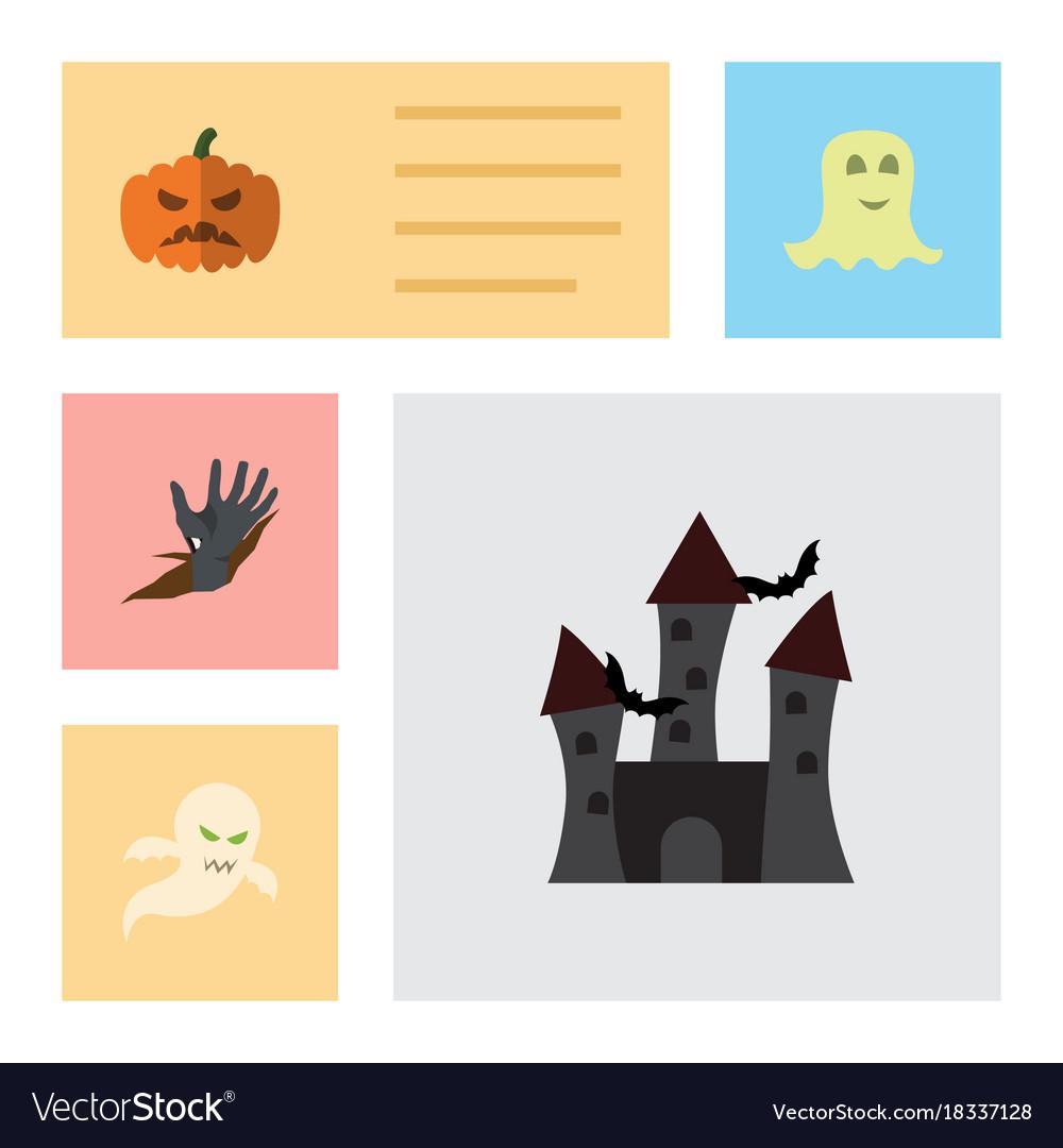Flat icon halloween set of zombie pumpkin ghost