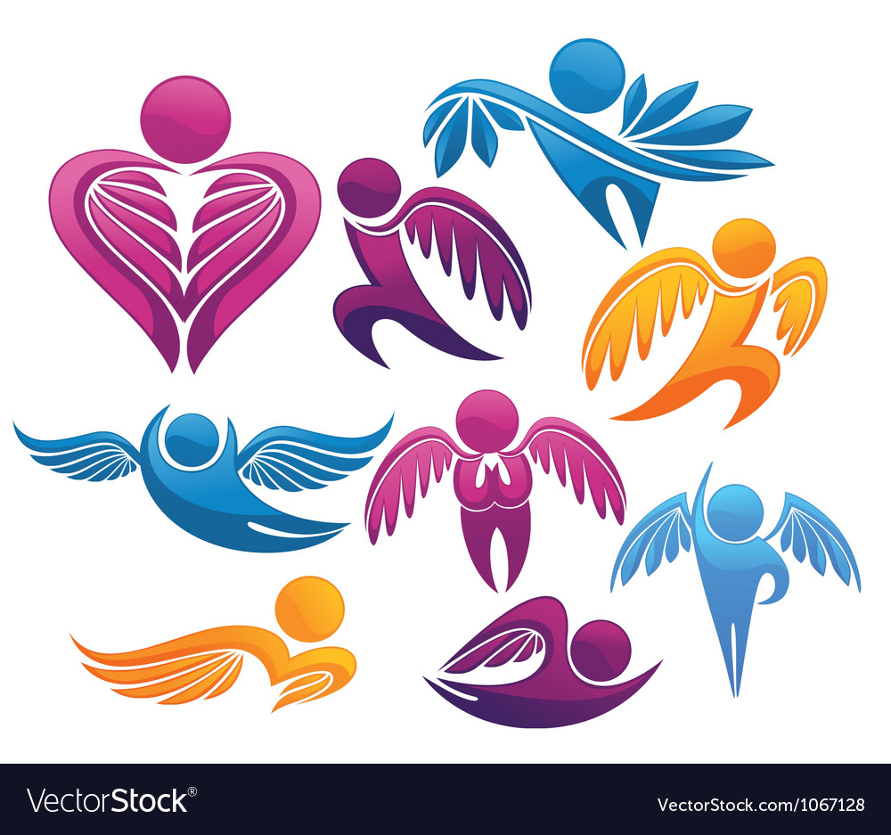 Flying people symbols and signs vector image