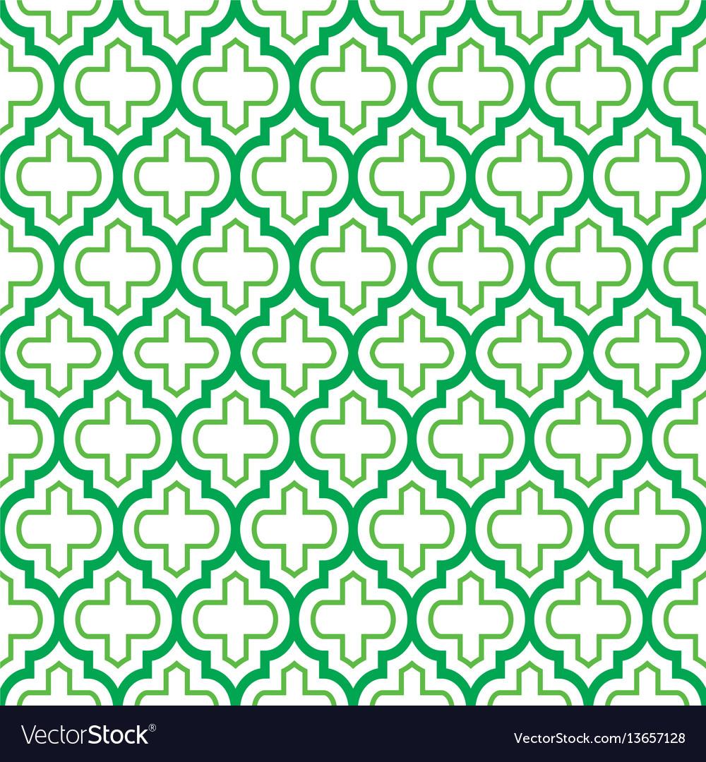 Geometric seamless pattern moroccan green design vector image