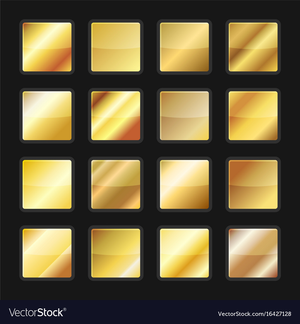 Gold gradient background textures set vector image