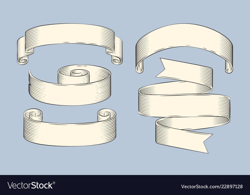 Hand drawn sketch set of ribbons icon