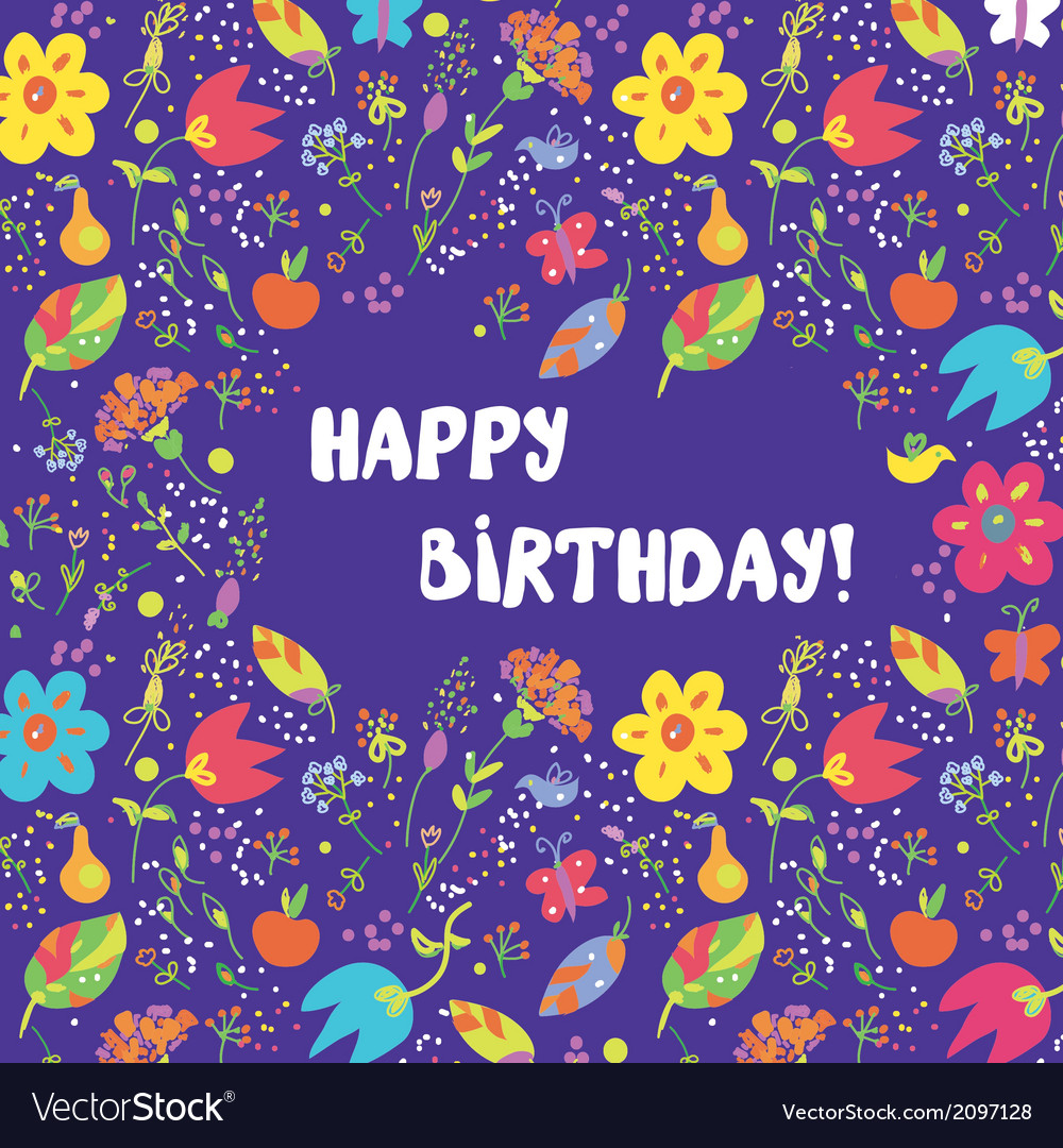 Happy birthday card with flowers frame