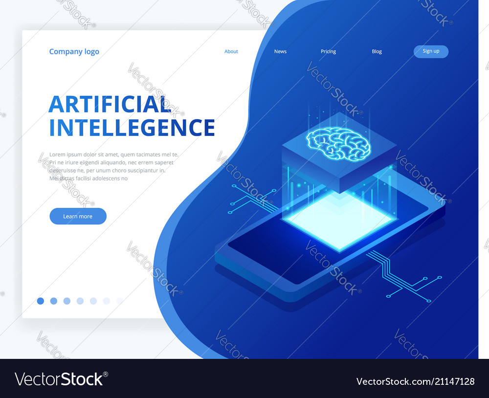 Isometric artificial intelligence business concept