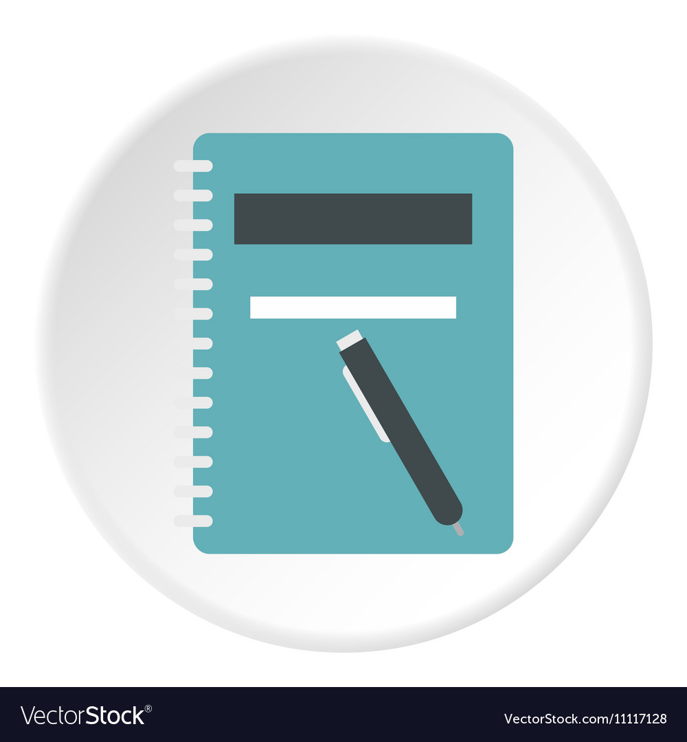 Notebook with pen icon flat style