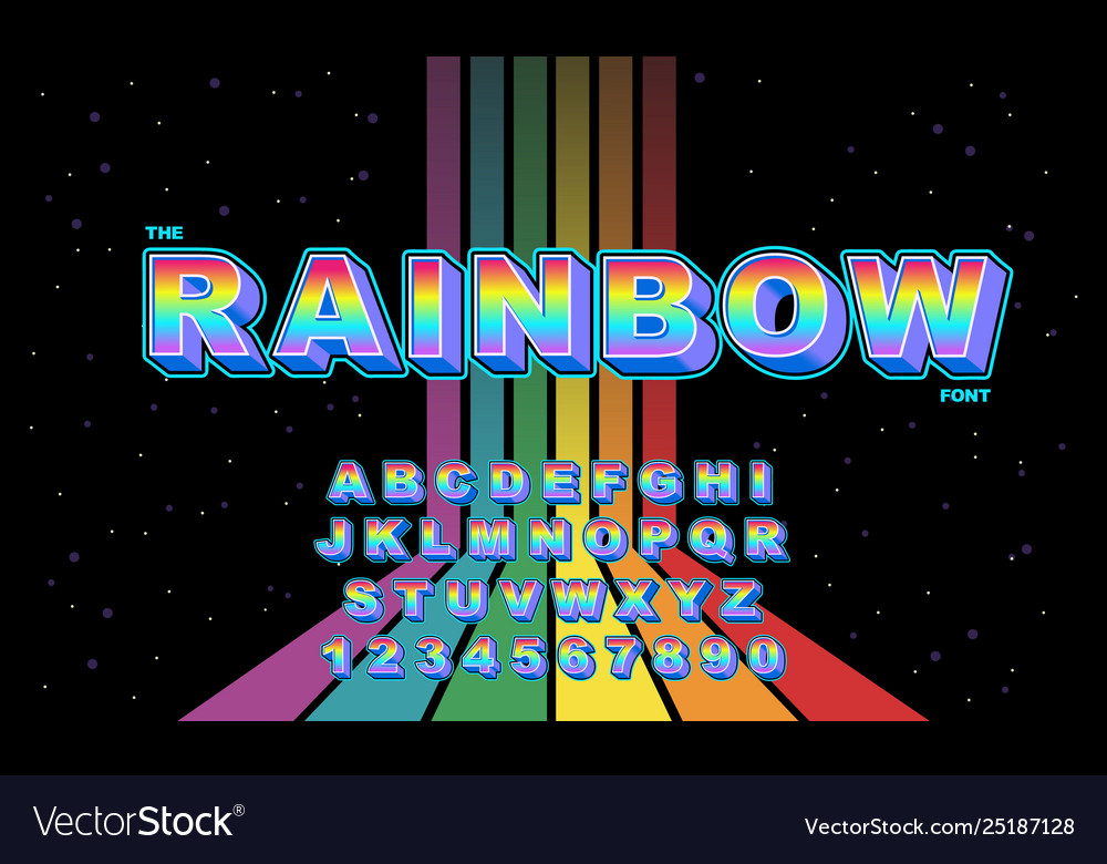 Rainbow stylized vintage font and