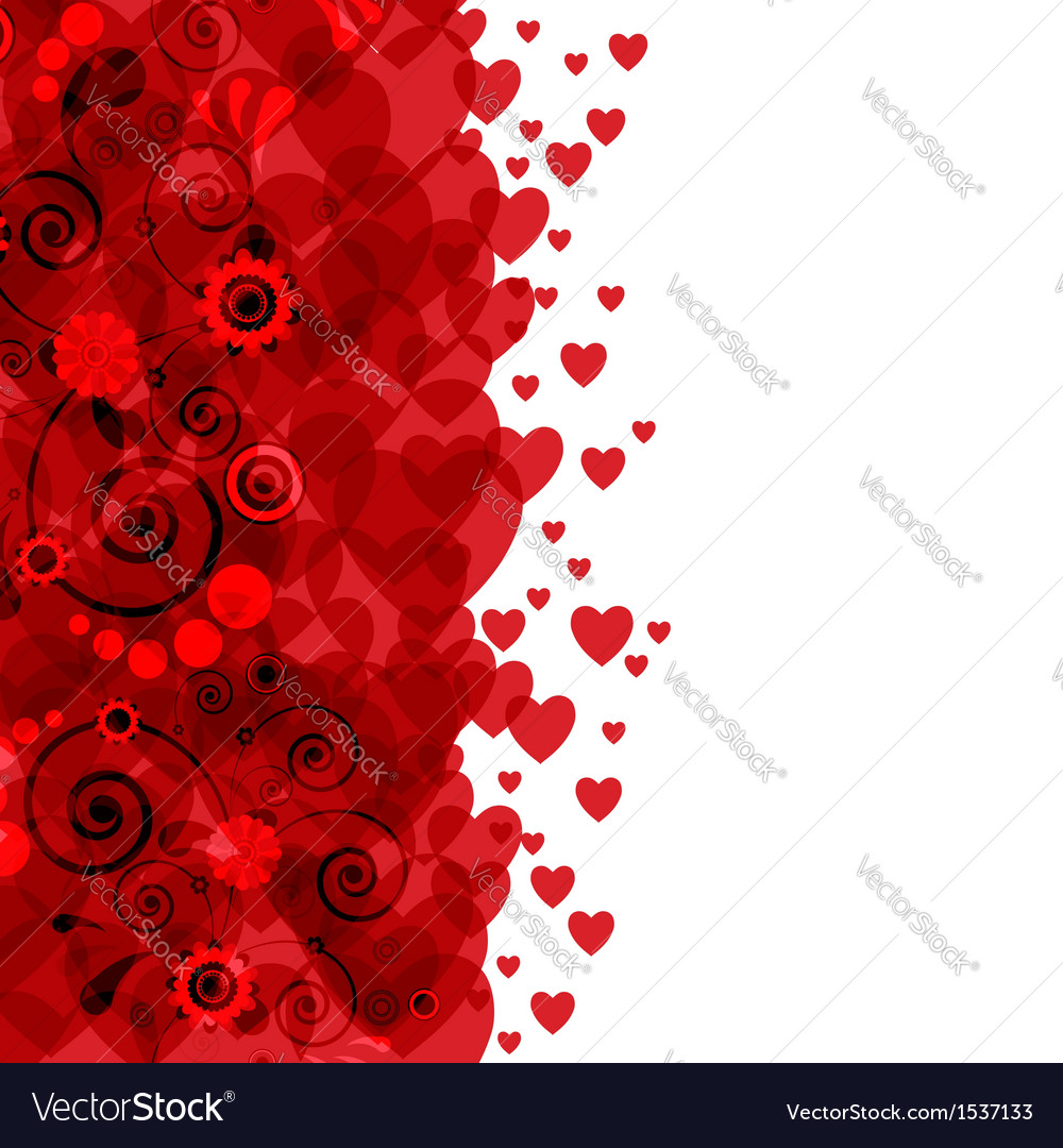 Background of hearts and flowers