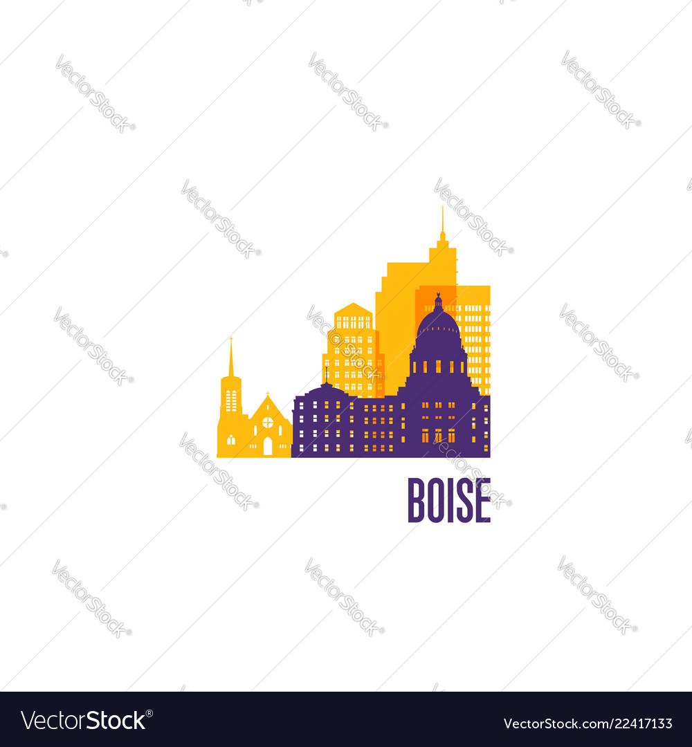 Boise city emblem colorful buildings