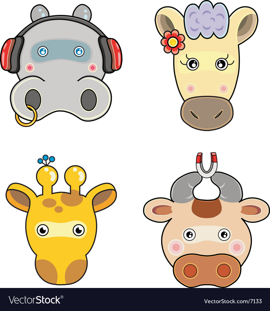 S Cute Animals Face Vector