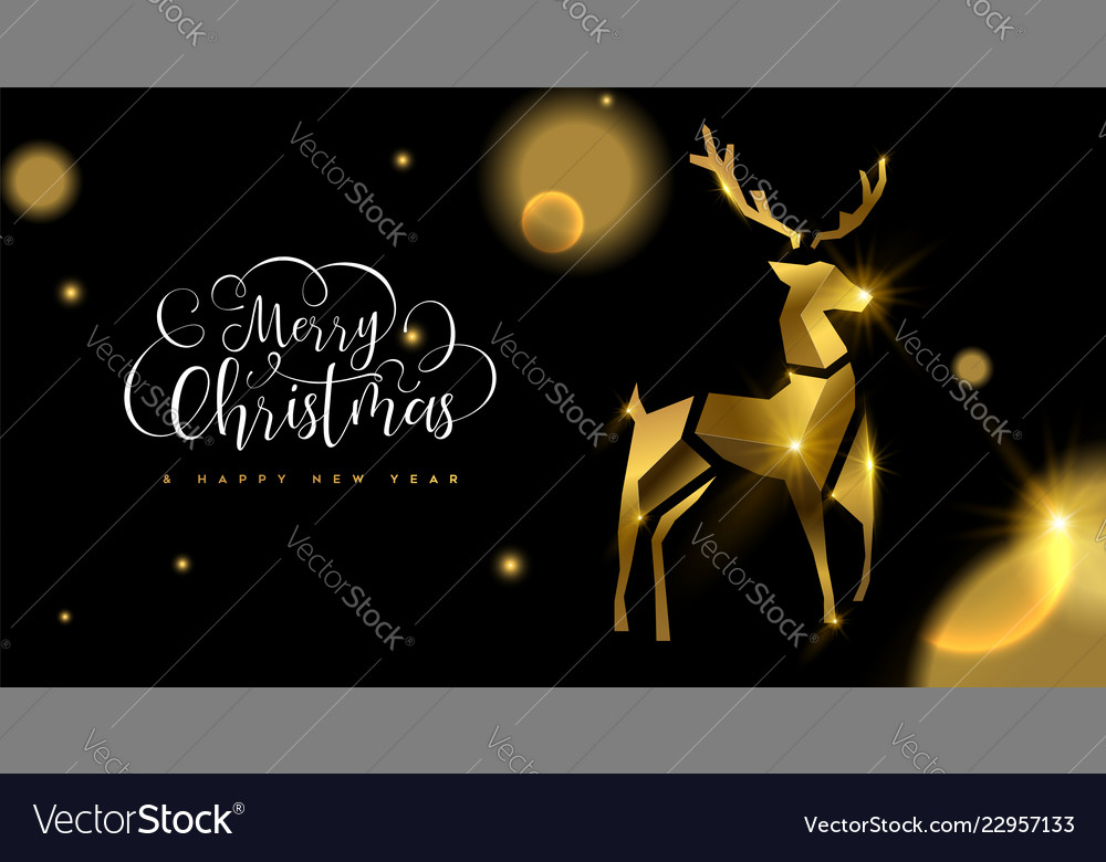 Christmas and new year 3d gold reindeer card