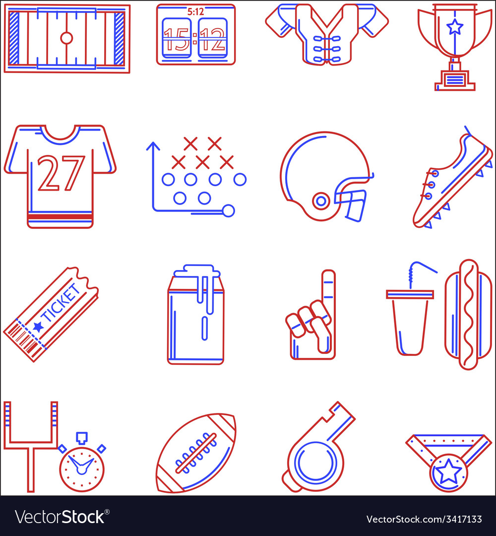 Contour two colored icons for American football