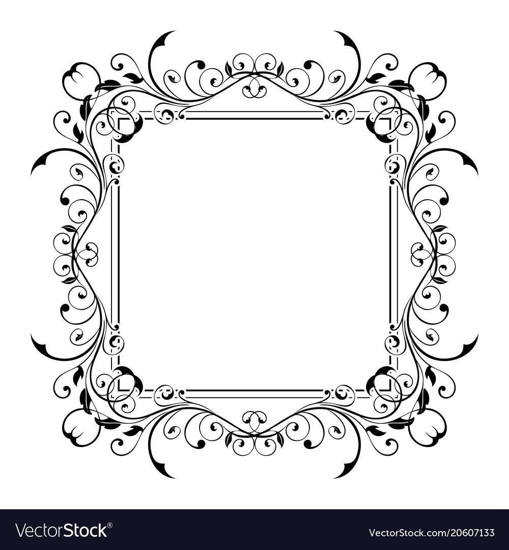 Floral decorative frame black ornamental branch Vector Image